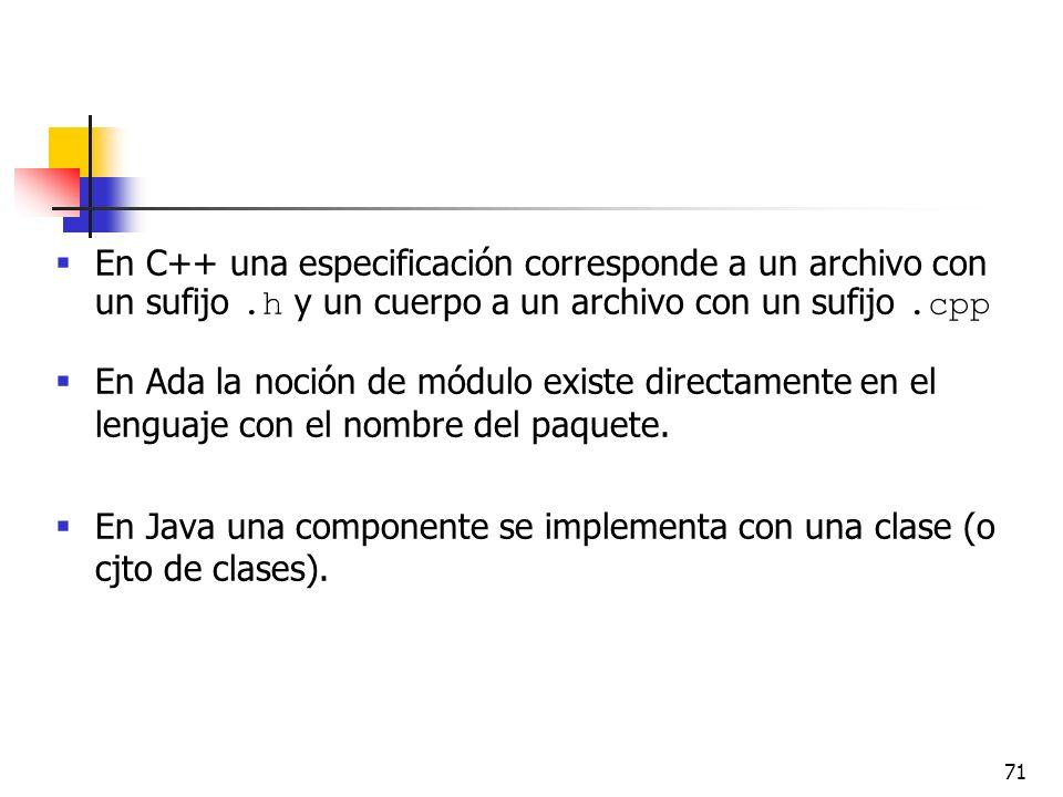 En C++ una especificación corresponde a un archivo con un sufijo