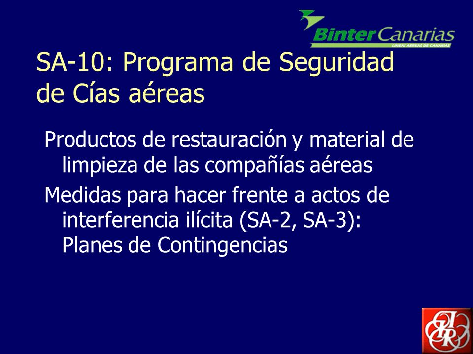 SA-10: Programa de Seguridad de Cías aéreas