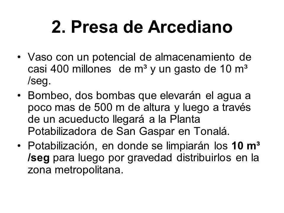 2. Presa de Arcediano Vaso con un potencial de almacenamiento de casi 400 millones de m³ y un gasto de 10 m³ /seg.