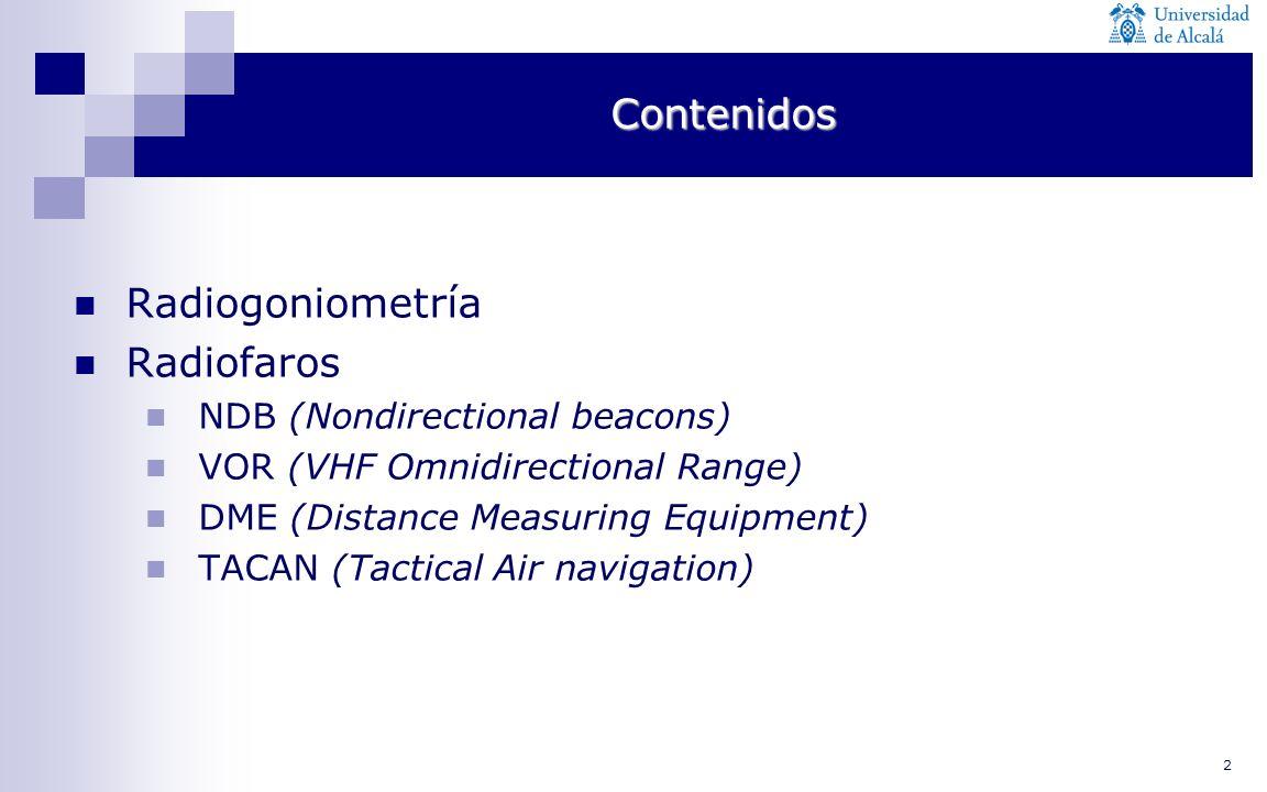 Contenidos Radiogoniometría Radiofaros NDB (Nondirectional beacons)