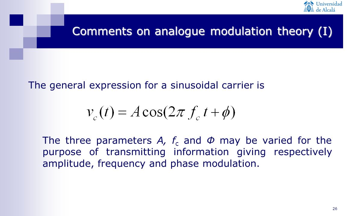 Comments on analogue modulation theory (I)