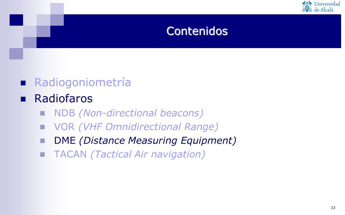 Contenidos Radiogoniometría Radiofaros NDB (Non-directional beacons)