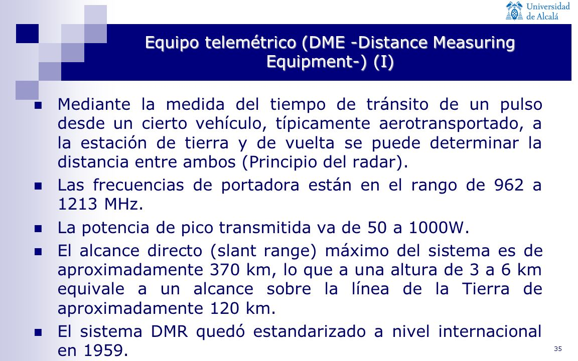 Equipo telemétrico (DME -Distance Measuring Equipment-) (I)