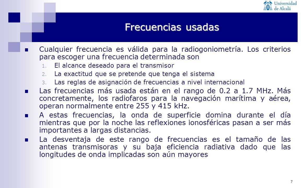 Frecuencias usadas Cualquier frecuencia es válida para la radiogoniometría. Los criterios para escoger una frecuencia determinada son.