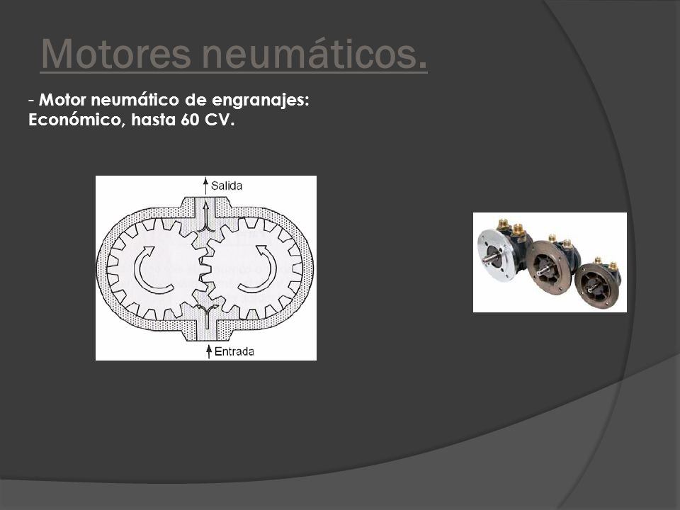 Motores neumáticos. Motor neumático de engranajes: