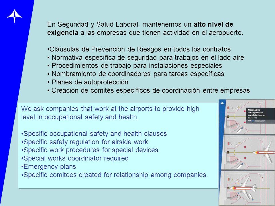 En Seguridad y Salud Laboral, mantenemos un alto nivel de exigencia a las empresas que tienen actividad en el aeropuerto.
