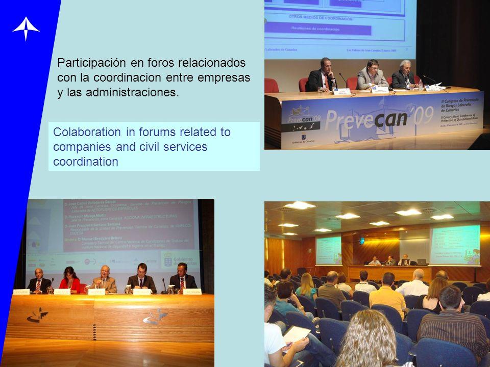 Participación en foros relacionados con la coordinacion entre empresas y las administraciones.