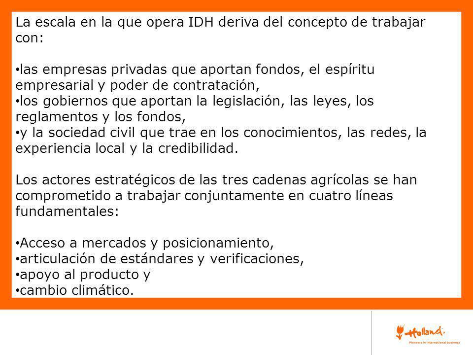 La escala en la que opera IDH deriva del concepto de trabajar con: