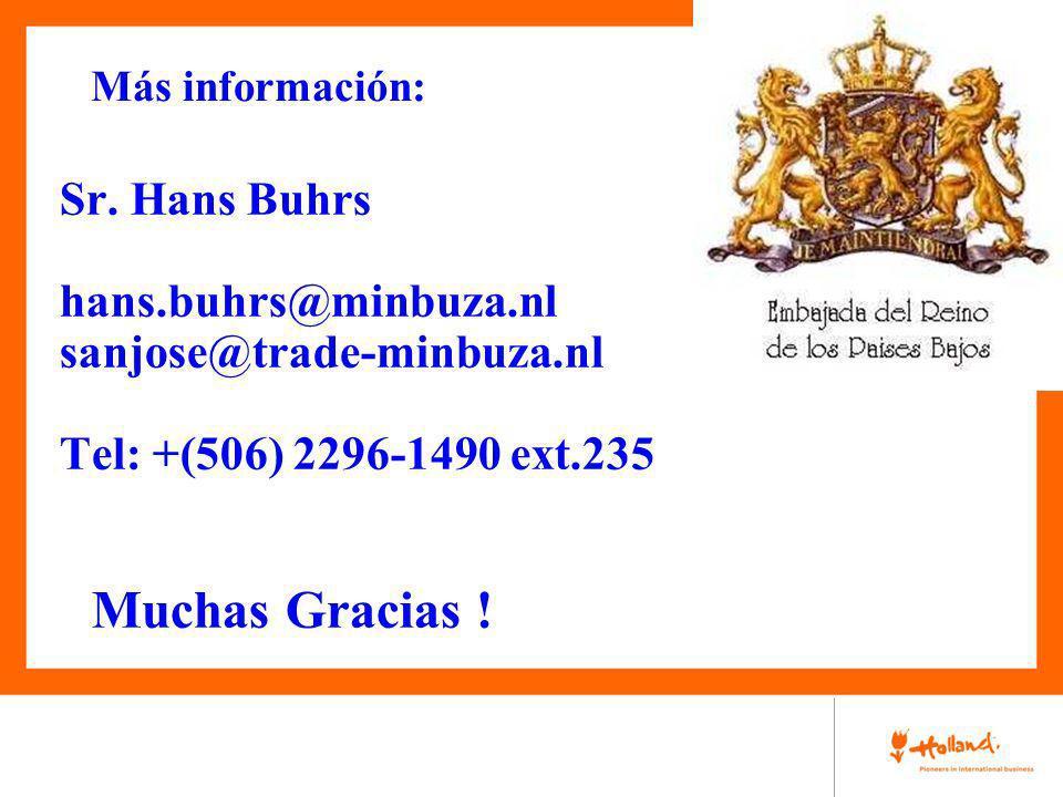 Muchas Gracias ! Sr. Hans Buhrs hans.buhrs@minbuza.nl