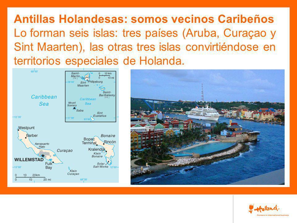 Antillas Holandesas: somos vecinos Caribeños Lo forman seis islas: tres países (Aruba, Curaçao y Sint Maarten), las otras tres islas convirtiéndose en territorios especiales de Holanda.