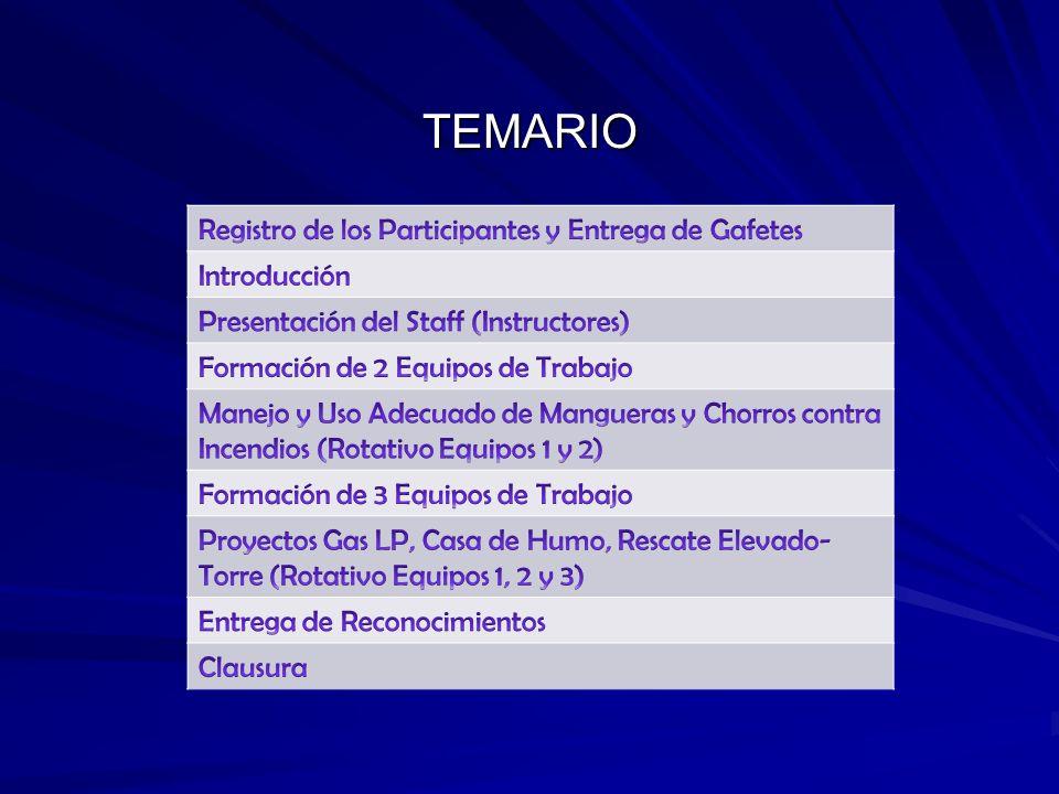 TEMARIO Registro de los Participantes y Entrega de Gafetes