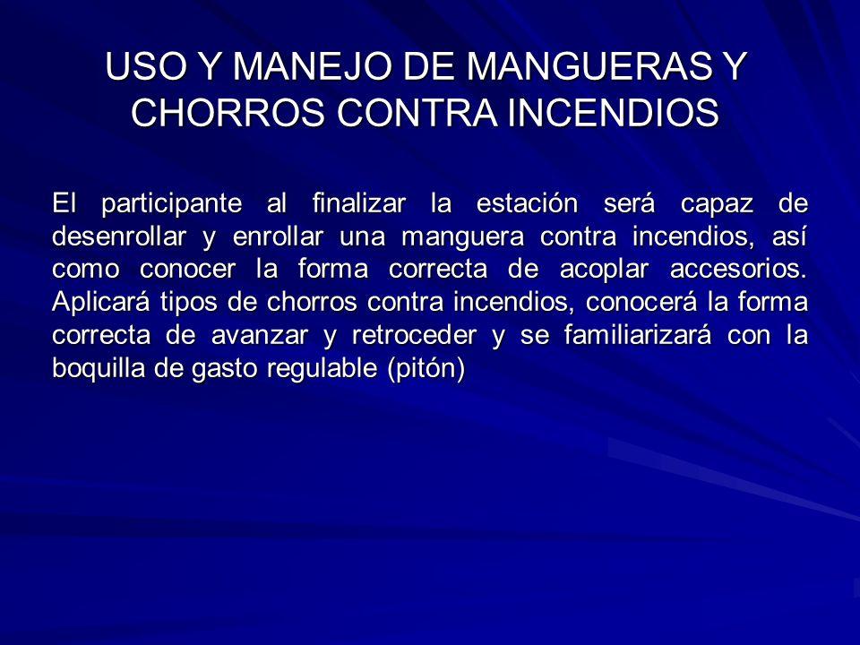 USO Y MANEJO DE MANGUERAS Y CHORROS CONTRA INCENDIOS