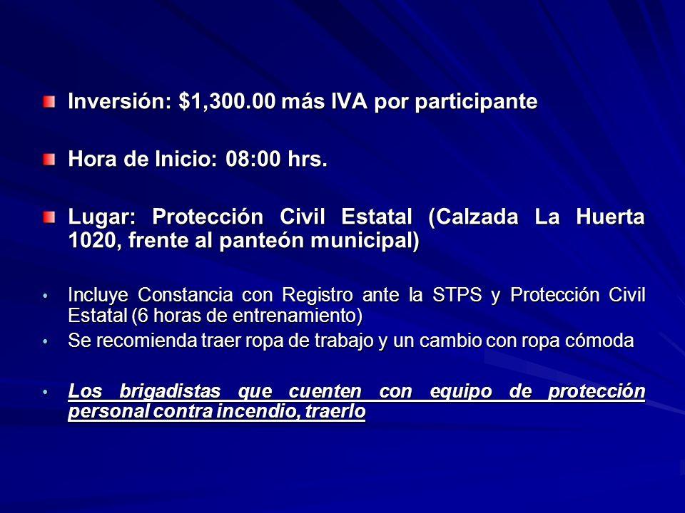 Inversión: $1,300.00 más IVA por participante