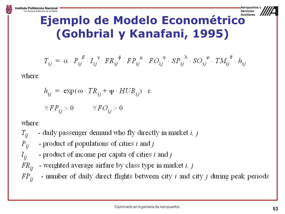 Ejemplo de Modelo Econométrico (Gohbrial y Kanafani, 1995)