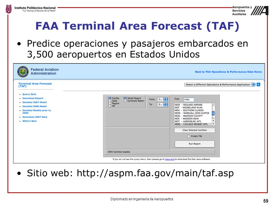 FAA Terminal Area Forecast (TAF)