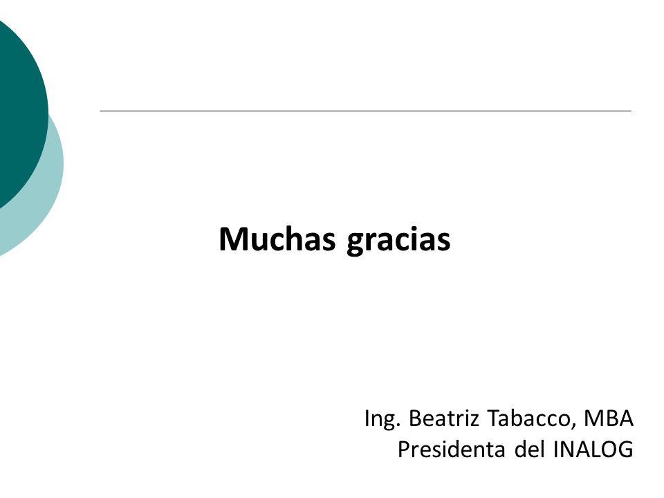 Muchas gracias Ing. Beatriz Tabacco, MBA Presidenta del INALOG