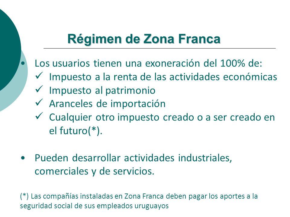Régimen de Zona Franca Los usuarios tienen una exoneración del 100% de: Impuesto a la renta de las actividades económicas.