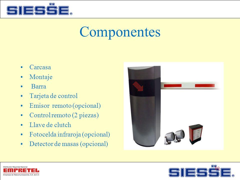 Componentes Carcasa Montaje Barra Tarjeta de control