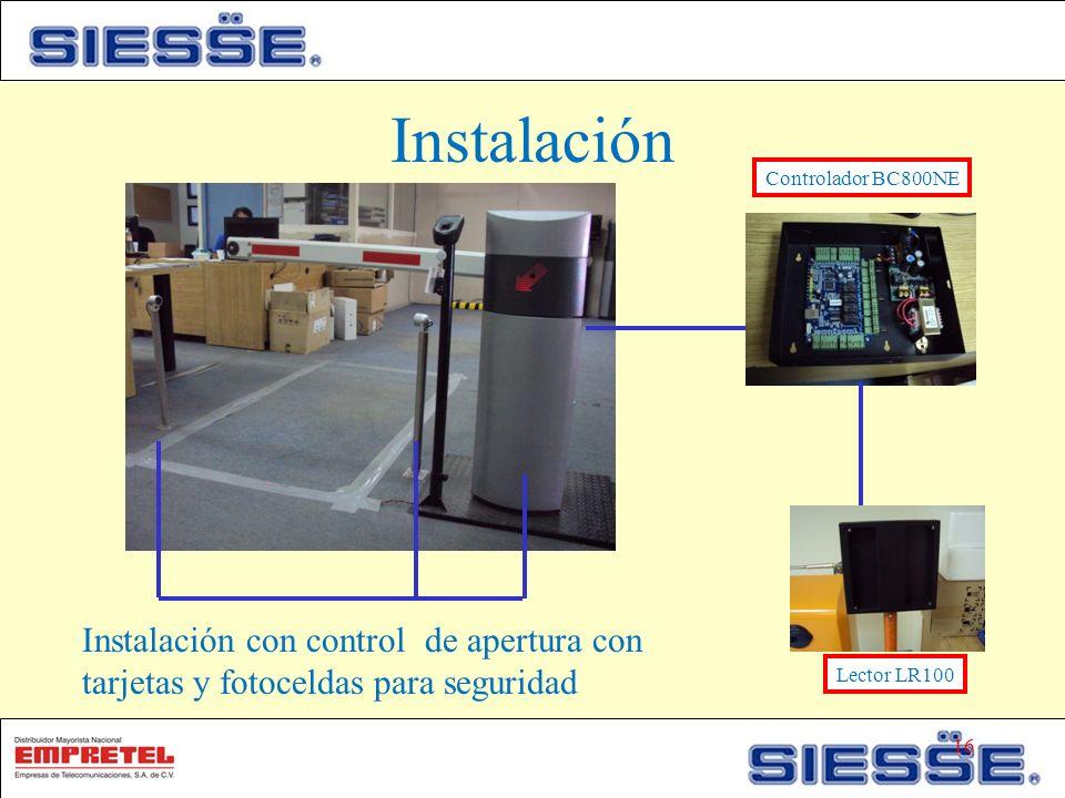 Instalación Controlador BC800NE. Instalación con control de apertura con tarjetas y fotoceldas para seguridad.