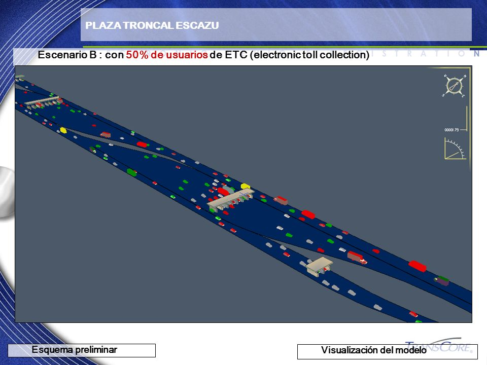 Escenario B : con 50% de usuarios de ETC (electronic toll collection)