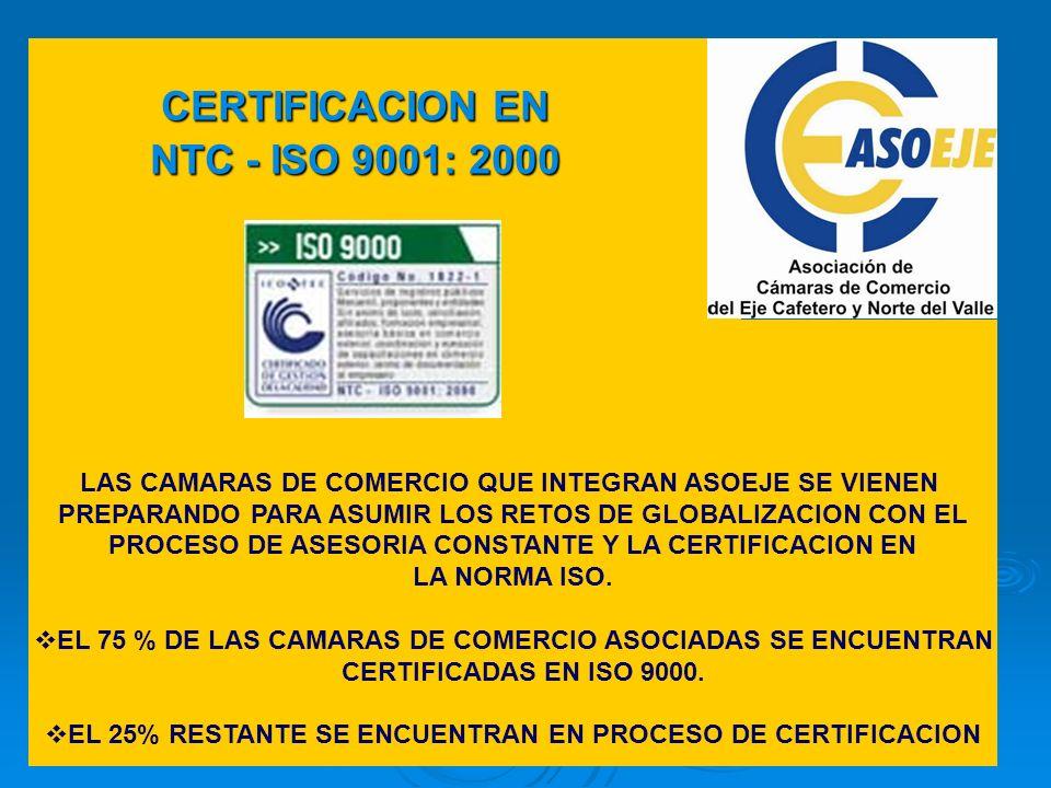 CERTIFICACION EN NTC - ISO 9001: 2000
