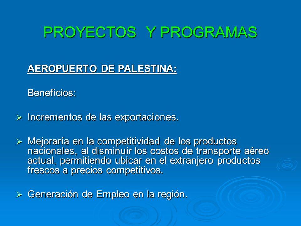PROYECTOS Y PROGRAMAS AEROPUERTO DE PALESTINA: Beneficios: