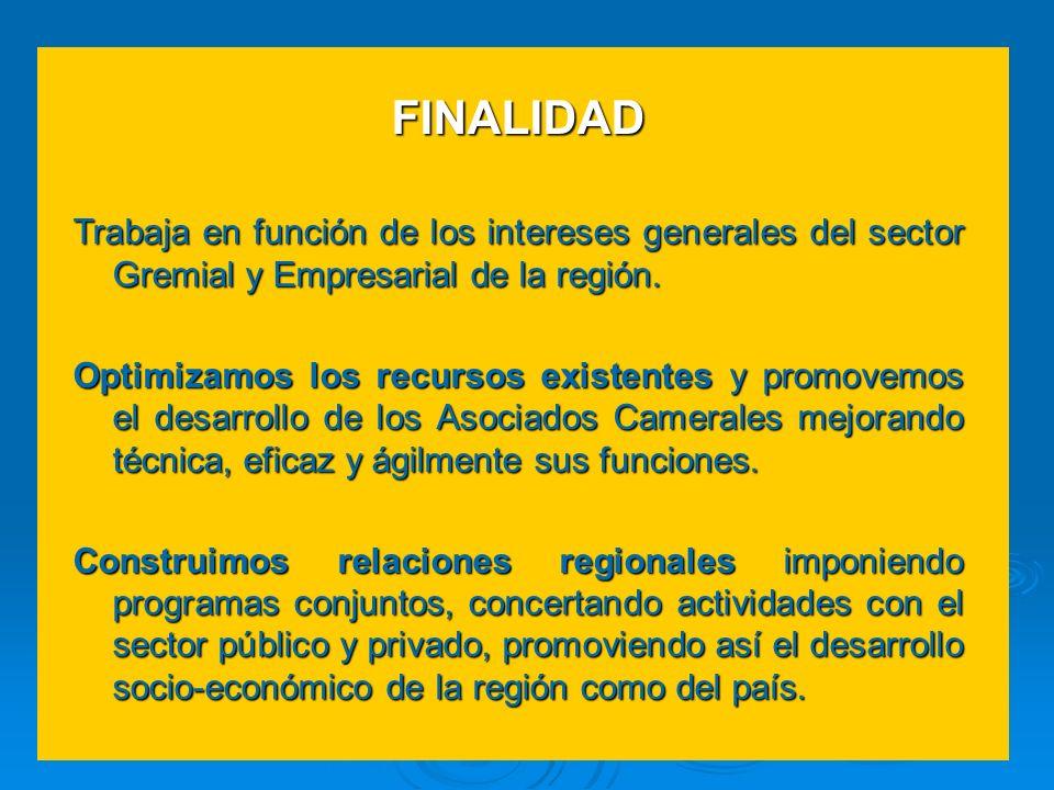 FINALIDAD Trabaja en función de los intereses generales del sector Gremial y Empresarial de la región.