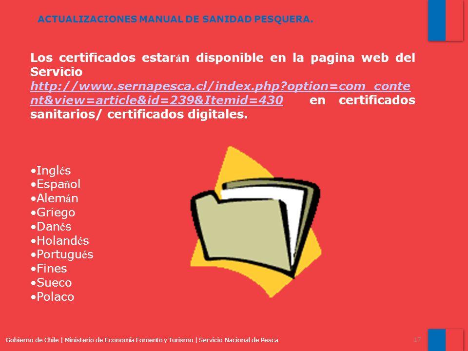 Los certificados estarán disponible en la pagina web del Servicio