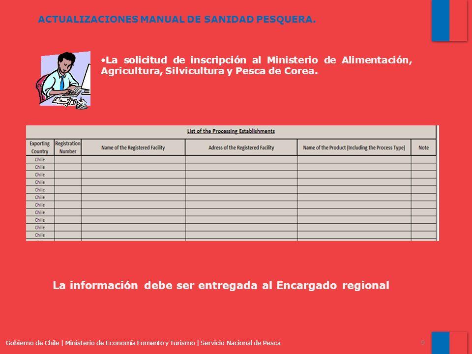 La información debe ser entregada al Encargado regional