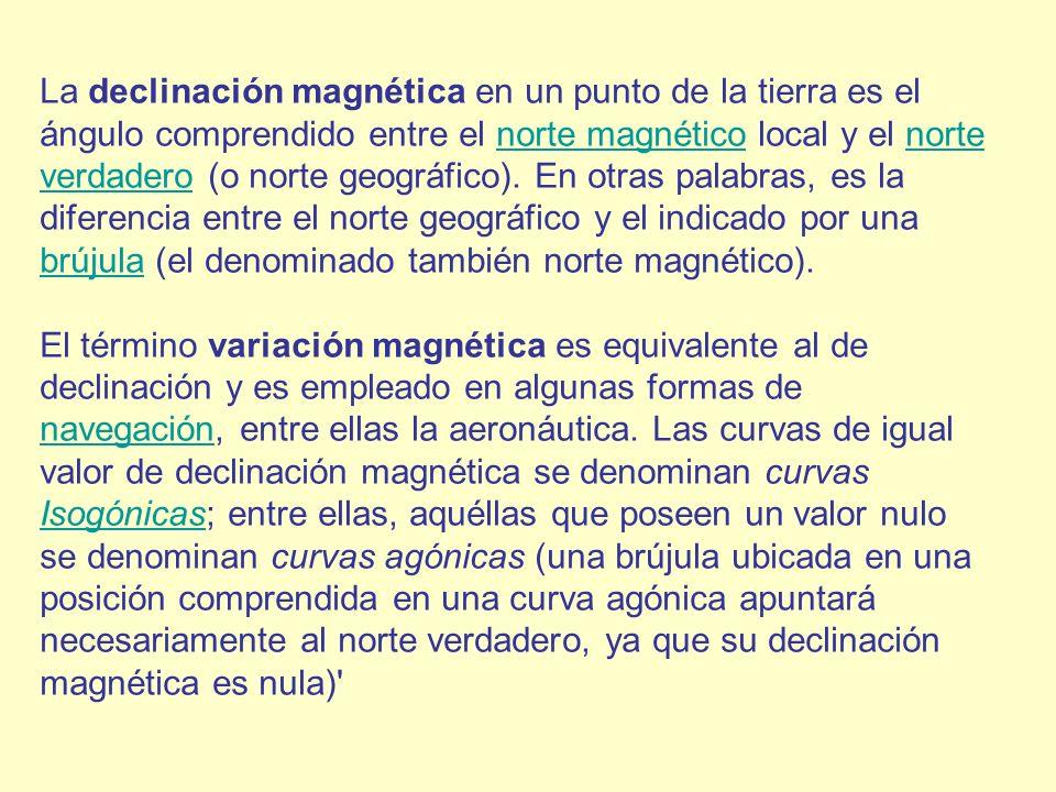 La declinación magnética en un punto de la tierra es el ángulo comprendido entre el norte magnético local y el norte verdadero (o norte geográfico). En otras palabras, es la diferencia entre el norte geográfico y el indicado por una brújula (el denominado también norte magnético).