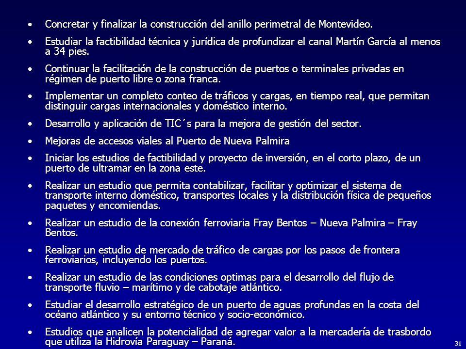 Concretar y finalizar la construcción del anillo perimetral de Montevideo.