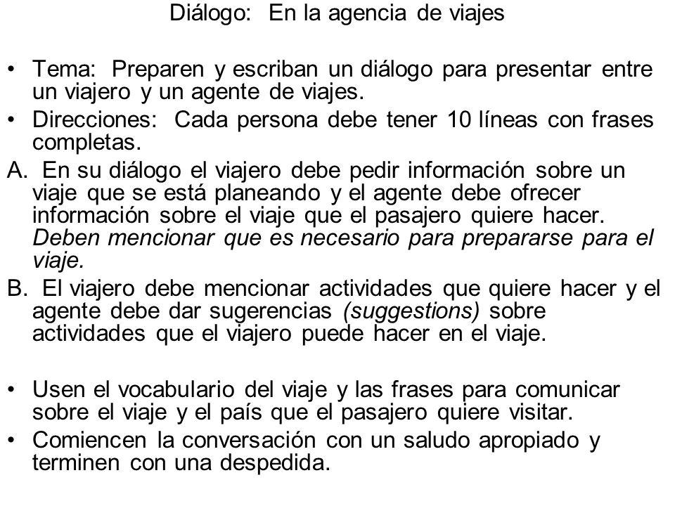 Diálogo: En la agencia de viajes