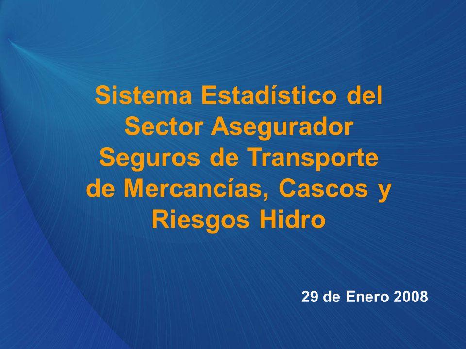 Sistema Estadístico del Sector Asegurador Seguros de Transporte de Mercancías, Cascos y Riesgos Hidro