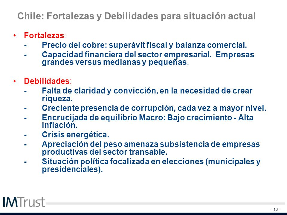 Chile: Fortalezas y Debilidades para situación actual