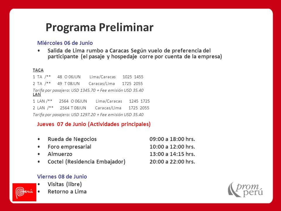 Programa Preliminar Miércoles 06 de Junio