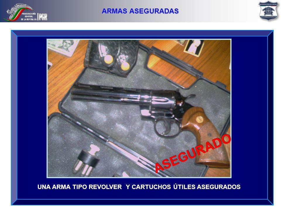 UNA ARMA TIPO REVOLVER Y CARTUCHOS ÚTILES ASEGURADOS