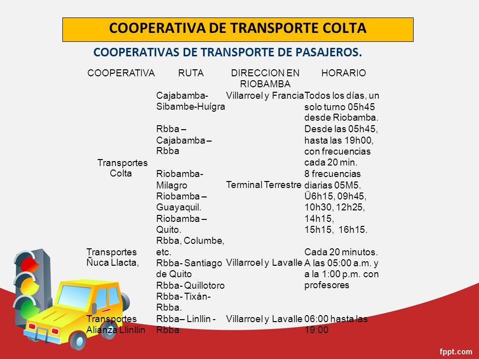 COOPERATIVAS DE TRANSPORTE DE PASAJEROS.