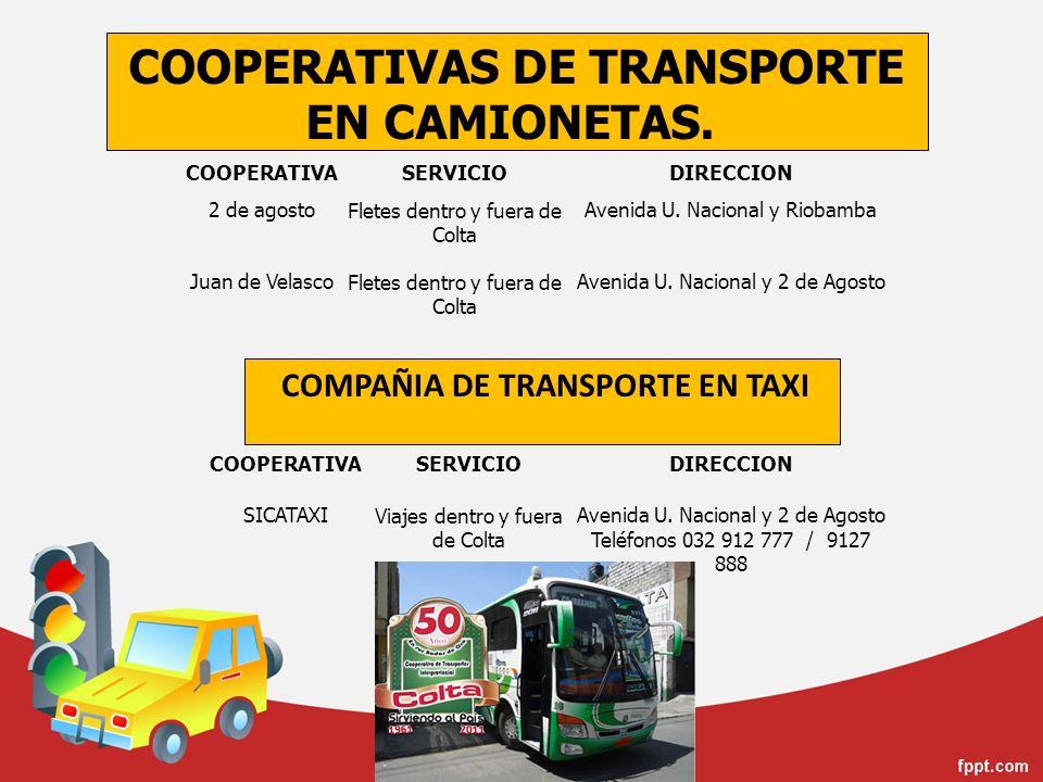 COOPERATIVAS DE TRANSPORTE EN CAMIONETAS.