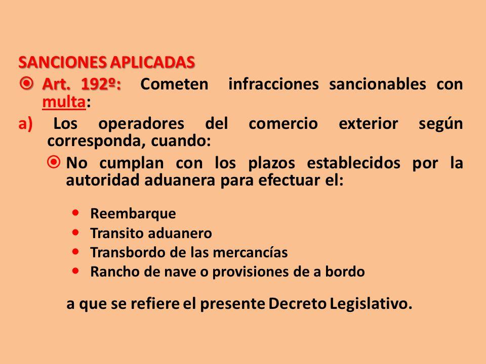 Art. 192º: Cometen infracciones sancionables con multa: