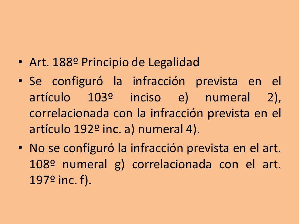 Art. 188º Principio de Legalidad