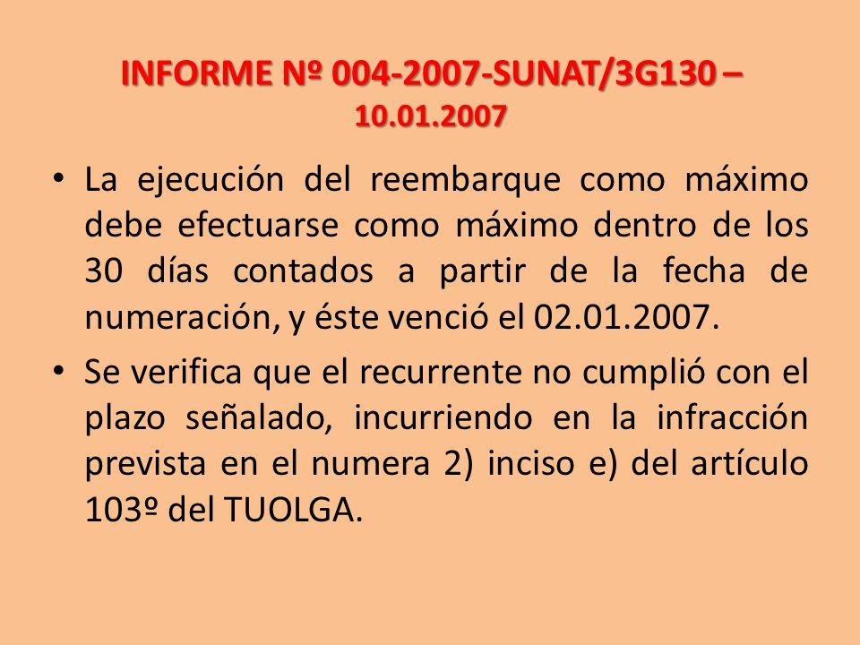 INFORME Nº 004-2007-SUNAT/3G130 – 10.01.2007