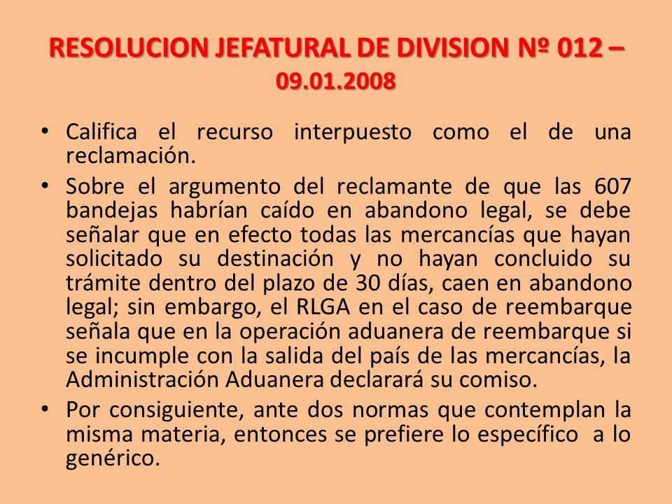 RESOLUCION JEFATURAL DE DIVISION Nº 012 – 09.01.2008
