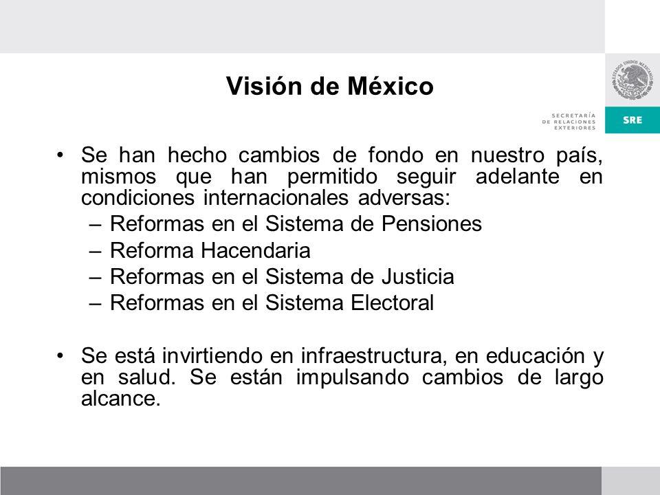 Visión de México Se han hecho cambios de fondo en nuestro país, mismos que han permitido seguir adelante en condiciones internacionales adversas:
