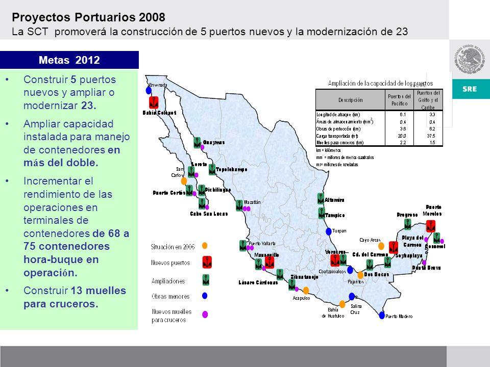 Proyectos Portuarios 2008 La SCT promoverá la construcción de 5 puertos nuevos y la modernización de 23