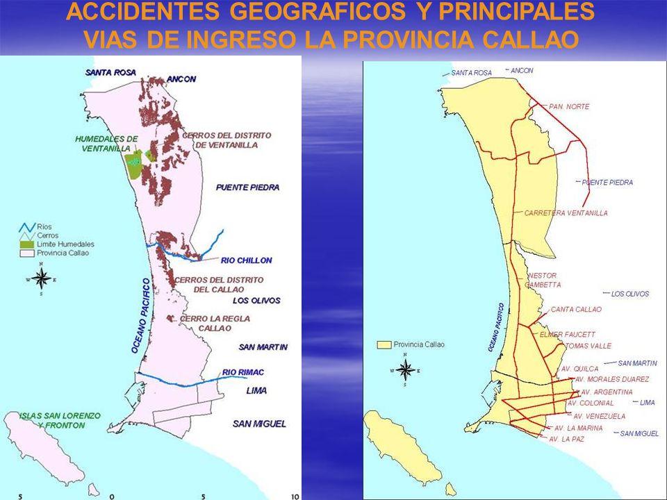 ACCIDENTES GEOGRAFICOS Y PRINCIPALES VIAS DE INGRESO LA PROVINCIA CALLAO