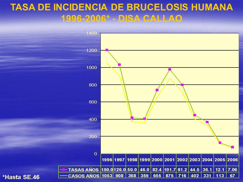 TASA DE INCIDENCIA DE BRUCELOSIS HUMANA 1996-2006* - DISA CALLAO