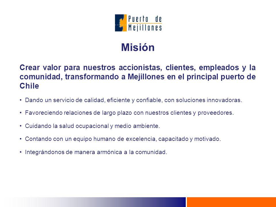 Misión Crear valor para nuestros accionistas, clientes, empleados y la comunidad, transformando a Mejillones en el principal puerto de Chile.