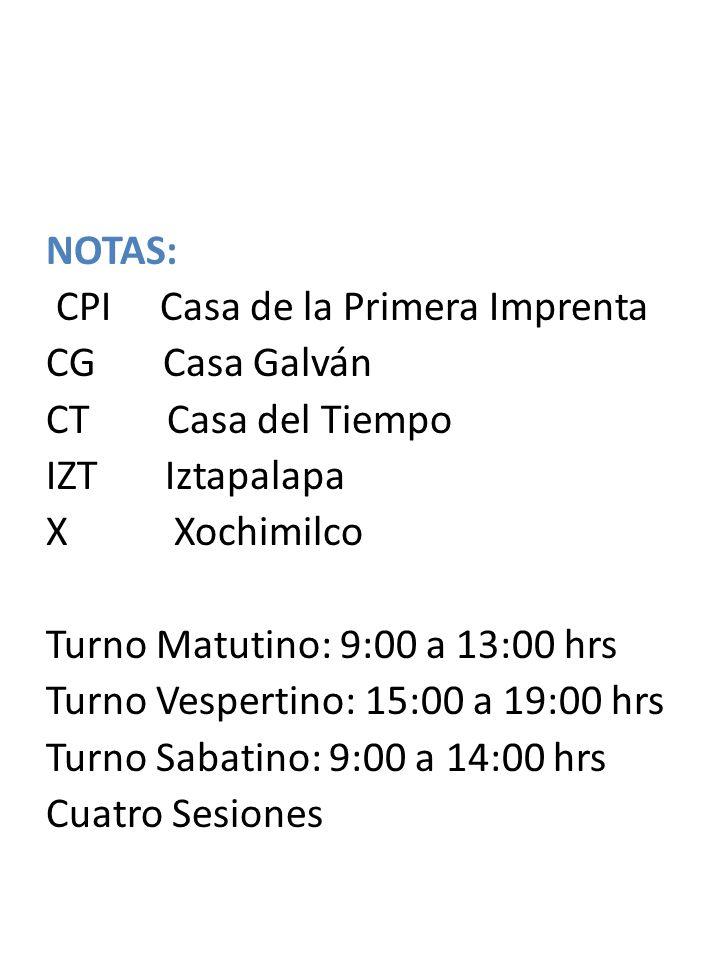 NOTAS: CPI Casa de la Primera Imprenta. CG Casa Galván. CT Casa del Tiempo. IZT Iztapalapa.
