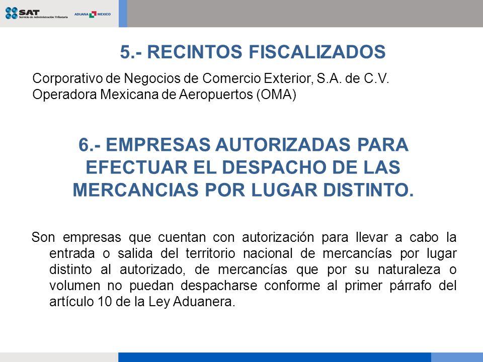 5.- RECINTOS FISCALIZADOS