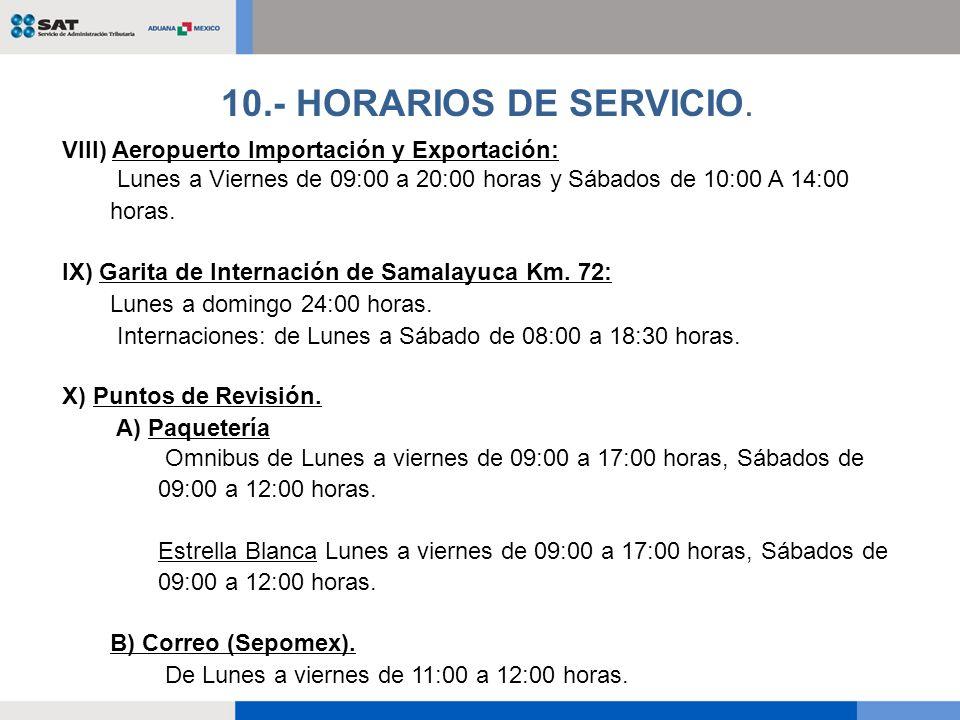 10.- HORARIOS DE SERVICIO. VIII) Aeropuerto Importación y Exportación: